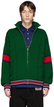 Gucci Green Wool Zip-Up Sweater