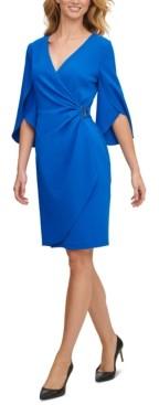 DKNY Split-Sleeve Faux-Wrap Dress
