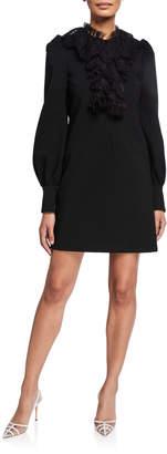 Gucci Puff-Sleeve Lace Trim Jersey Dress