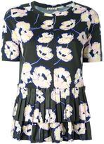 Marni Whisper print pleated T-shirt - women - Cotton - 40