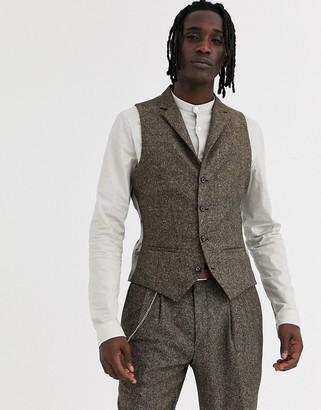 Twisted Tailor super waistcoat in herringbone-Brown