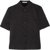 Carven Embroidered cotton-blend seersucker shirt