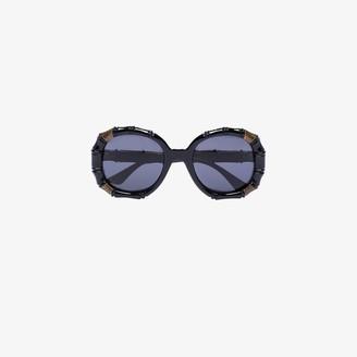 Gucci Black Bamboo Effect Round Sunglasses