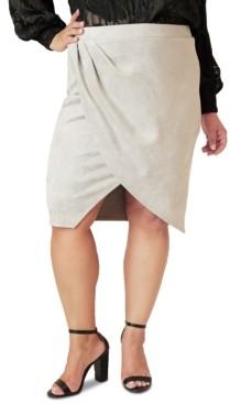 Maree Pour Toi Plus Size Faux-Suede Tulip Skirt