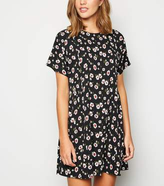 New Look Floral Short Sleeve Mini Smock Dress