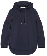 Cédric Charlier Smocked Cotton-jersey Hooded Top - Navy