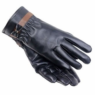 HUYURI Women Lady Winter Warm Leather Driving Soft Lining Gloves Mitten