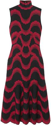 Alexander McQueen Scalloped Jacquard-knit Midi Dress