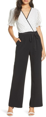 Donna Ricco Wrap Front Short Sleeve Jumpsuit