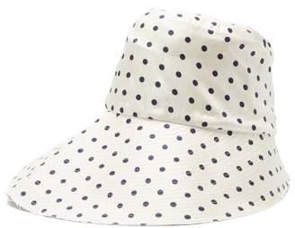 La Prestic Ouiston Polka-dot Silk-twill Bucket Hat - Womens - White