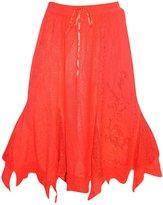 Mogul Interior Womens Boho Skirt Sexy A Line Embroide Zig Zag Hippie Mid Length Skirts