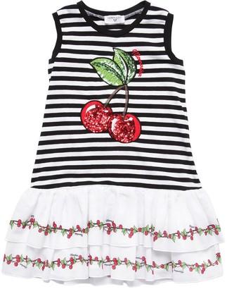 MonnaLisa Striped Cotton Jersey & Poplin Dress