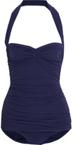 Norma Kamali Bill Mio Ruched Halterneck Swimsuit - Midnight blue