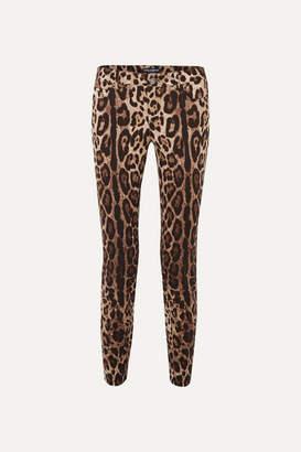 Dolce & Gabbana Cropped Leopard-print Skinny Jeans - Brown