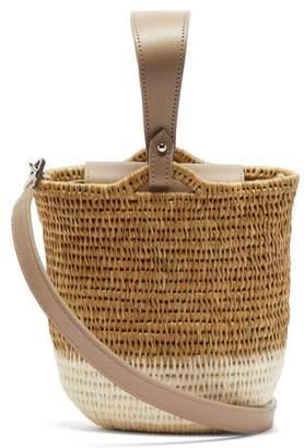Khokho - Zandi Leather Trimmed Woven Bucket Bag - Womens - White Multi