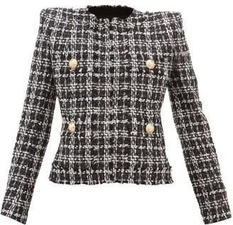 Balmain Raw-edged Lurex Tweed Jacket - Womens - Black White