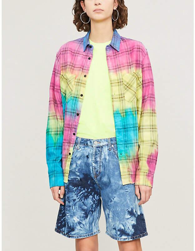 Amiri Tie-dye checked cotton shirt