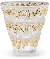Lalique Provence Clear & Gold Stamped Vase