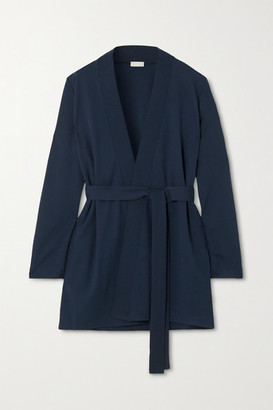 Hanro Pure Comfort Belted Pique-trimmed Jersey Cardigan - Midnight blue