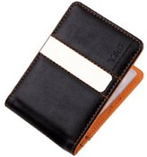 Black Brown Fantastic Fabric Fine Leather Wallet With 10 Plastic Card Holer Stainless Steel Money Clip Gift for Boyfriend By Y&G