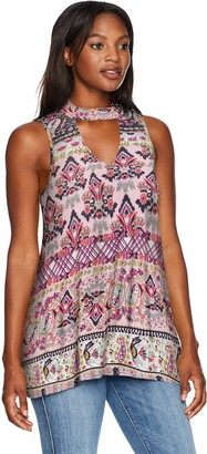 One World ONEWORLD Women's Sleeveless Tunic with Tab Neck and Keyhole Back