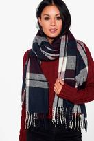 Boohoo Kitty Tartan Check Supersoft Blanket Scarf