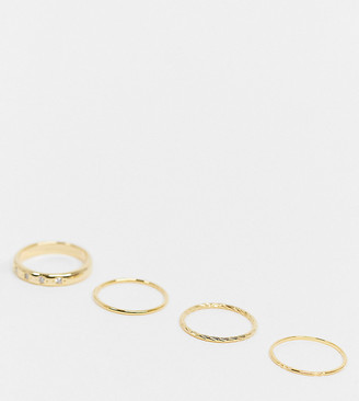 Orelia ring stacking multipack x 4 in gold plate