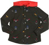 Armani Junior Printed Cotton Flannel Shirt W/ Hood
