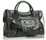 dark green goatskin 'City' medium satchel