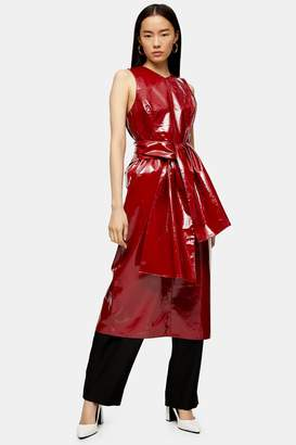Topshop Womens **Red Patent Leather Wrap Dress By Red