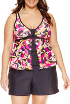 Free Country Geometric Flyaway Tankini Swimsuit Top-Plus