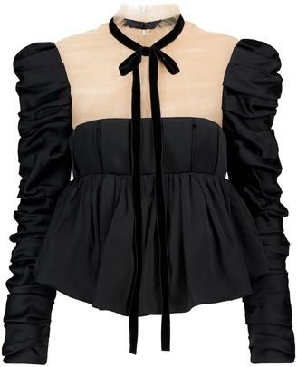 KHAITE Fanny peplum satin blouse