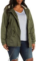 Charlotte Russe Plus Size Faux Shearling Anorak Jacket with Hood