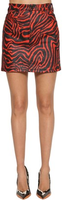 Calvin Klein Zebra Printed Stretch Cotton Denim Skirt