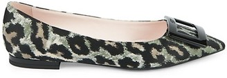 Roger Vivier Gommettine Animal-Print Satin Flats
