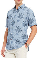 Daniel Cremieux Floral-Leaf Printed Linen Classic-Fit Short-Sleeve Woven Shirt