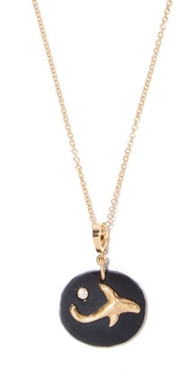 Azlee - Dolphin Diamond, Jade & 18kt Gold Necklace - Black Gold