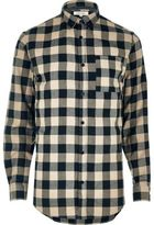 River Island MensStone casual check flannel shirt