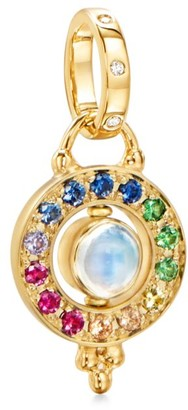 Temple St. Clair Celestial 18K Yellow Gold & Rainbow Multi-Stone Mini Orbit Pendant