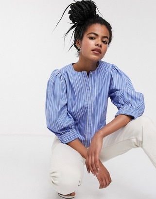 And other stories & stripe puff sleeve blouse in blue