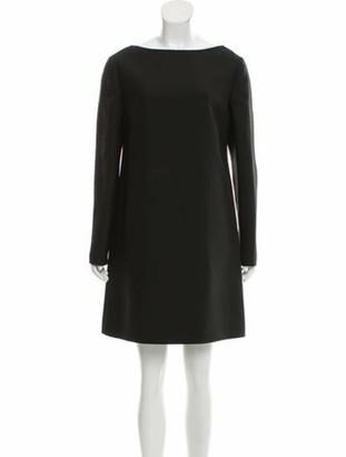 Valentino Wool Off-The-Shoulder Dress Black