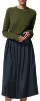 Toast Wool Blend Pinstripe Skirt, Dark Navy