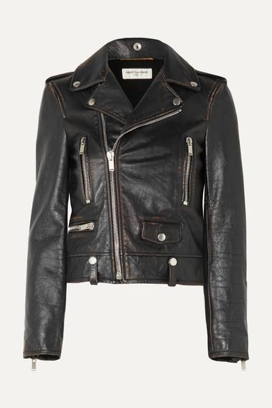 Saint Laurent Distressed Leather Biker Jacket - Black