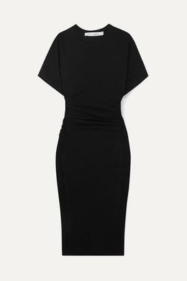 IRO Elfin Ruched Cotton-jersey Dress - Black