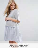 Asos T-Shirt Smock Dress with Woven Frill Hem
