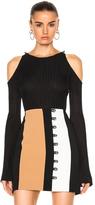David Koma Rib Knit Open Shoulder Long Sleeve Pullover in Black.