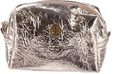 Tory Burch Logo-Embellished Metallic Cosmetic Bag