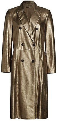 Brunello Cucinelli Metallic Leather Double Breasted Overcoat