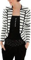 Allegra K Women's Notched Lapel Striped Blazer Jacket XL Grey White