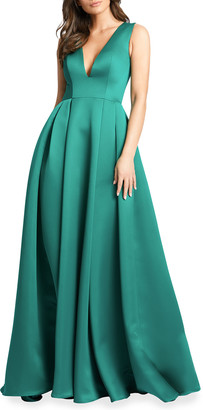 Mac Duggal Plunging V-Neck Box-Pleated Satin A-Line Gown